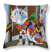 A Cat For Picasso_ Chat Et Souris Throw Pillow