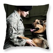 A Caucasian, Female Air Force Security Throw Pillow