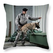 A Caucasian, Male Air Force Security Throw Pillow