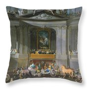 A Cavalcade In The Winter Riding School Of The Vienna Hof To Celebrate The Defeat Of The French Throw Pillow