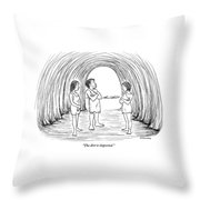 A Cave Father And Mother Talk To Their Daughter Throw Pillow