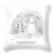 A Cavewoman Talks To A Caveman Who Is Leaving Throw Pillow