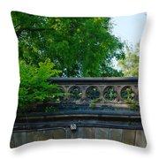 A Central Park Bridge Throw Pillow