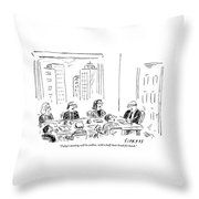 A Ceo Talks To His Board During A Board Meeting Throw Pillow