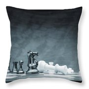 A Chess Game Throw Pillow by Don Hammond