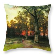 A Child Walks In A Forest Throw Pillow