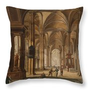 A Church Interior With Elegant People Throw Pillow