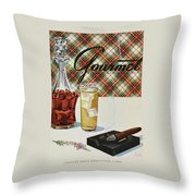 A Cigar In An Ashtray Beside A Drink And Decanter Throw Pillow