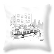A City Bus Is Seen With A Rooftop Bubble Throw Pillow