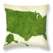 United State Grass Map Throw Pillow by Aged Pixel
