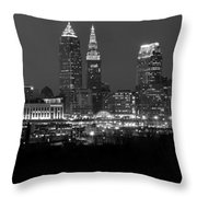 A Cleveland Black And White Night Throw Pillow
