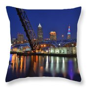A Cleveland Ohio Evening On The River Throw Pillow
