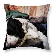 A Climber And Her Dog Lay Throw Pillow