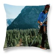 A Climber At The Top Of Pitch 3 On Swan Throw Pillow