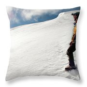 A Climber On The Glacier Of Cotopaxi Throw Pillow