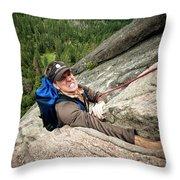 A Climber Reaches His Hand In A Crack Throw Pillow
