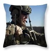 A Coalition Force Member Sets Throw Pillow