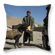 A Coalition Forces Military Working Dog Throw Pillow