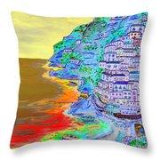 A Coastal View Of Positano Throw Pillow