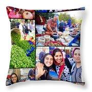 A Collage Of The Fresh Market In Kusadasi Turkey Throw Pillow