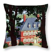A Colonial Manor House Throw Pillow
