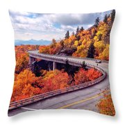 A Colorful Ride Along The Blue Ridge Parkway Throw Pillow
