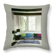 A Colourful Living Room Throw Pillow