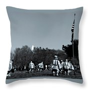 A Combat Patrol Heads For The Woods Throw Pillow