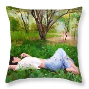 A Comfortable Patch Throw Pillow