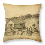 A Confederate Bull Battery Previous To The Battle Of Bull Run Throw Pillow