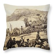 A Convoy Of Wagons Throw Pillow