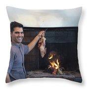 A Cook Hangs A Turkey Over Fire Pit Throw Pillow