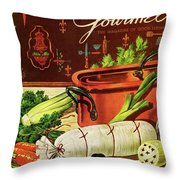 A Copper Pot And Ingredients Of Ballontine De Throw Pillow