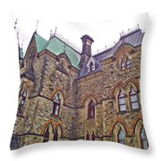 A Corner Of Parliament Building In Ottawa-on Throw Pillow