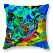 A Cosmic Dragonfly On A Psychedelic Rose Throw Pillow