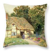A Cottage By A Duck Pond Throw Pillow