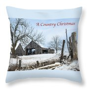 A Country Chrismas With Weathered Barn Throw Pillow