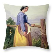 A Country Girl Standing By A Fence Throw Pillow