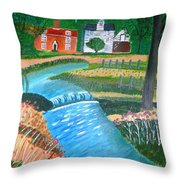 A Country Stream Throw Pillow
