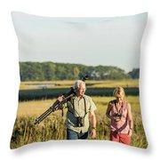 A Couple Bird Watching On A Salt Marsh Throw Pillow