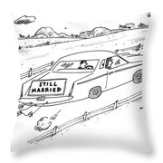 A Couple Driving A Car With A Still Married Sign Throw Pillow