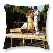 A Couple Having Drinks On A Deck Throw Pillow