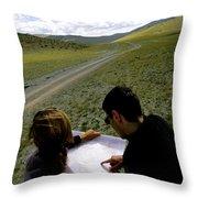 A Couple Hiking Across The Atlai Throw Pillow