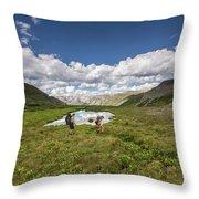 A Couple Hiking Through A Field Throw Pillow