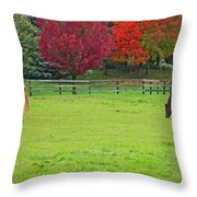 A Couple Horses And Beautiful Autumn Trees Throw Pillow