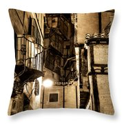 A Couple In A Little Restaurant In The Ancient City Of Albarracin Throw Pillow