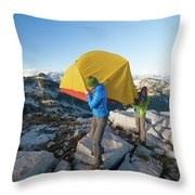 A Couple Of Backpackers Carry Throw Pillow
