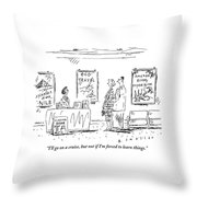 A Couple Stands Before The Desk At A Travel Throw Pillow