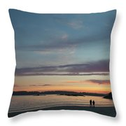 A Couple Walk Along The Shore Throw Pillow