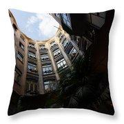 A Courtyard Curved Like A Hug - Antoni Gaudi's Casa Mila Barcelona Spain Throw Pillow